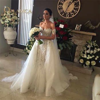 High Quality Hand Beaded Embroidered Lace Appliqued Bridal Gown Off the Shoulder Detachable Skirt Mermaid Wedding Dress - DISCOUNT ITEM  12% OFF All Category
