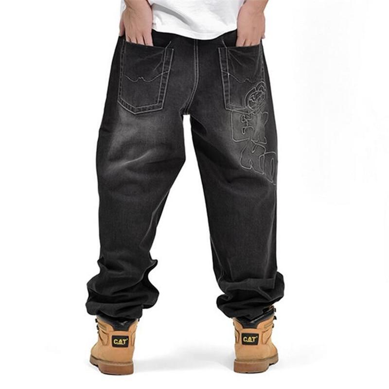 ФОТО ABOORUN 2016 Fat Mens Baggy Jeans Hip Hop Loose Embroidery Denim Pants Plus Size P3096