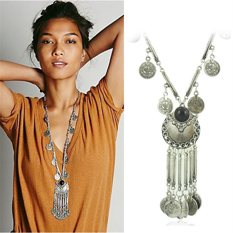 Bohemian Vintage Long Pendant Necklace Silver Plated Chain Gypsy Tribal Ethnic jewelry Tassel Necklace for women X-611