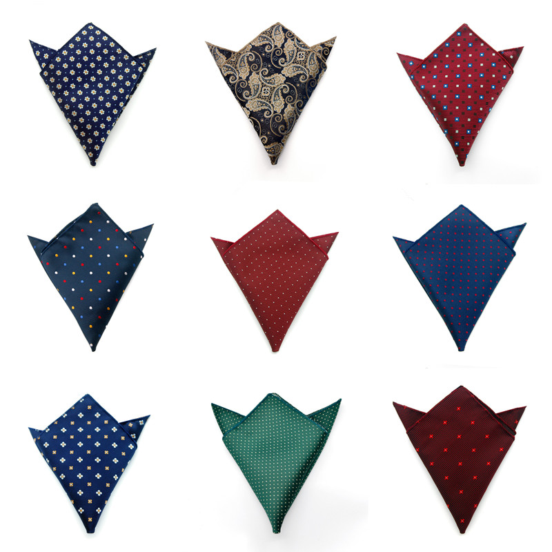 CityRaider Pin-Dot Pattern Design Grey Blue Red Silk Handkerchiefs For Men Cotton Pocket Square Green Wholesale VIP Link C036