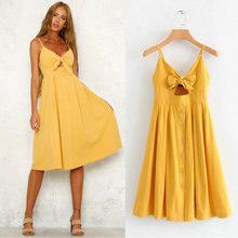 2019 new summer yellow Sexy sleeveless women dress bow tie V neck back elastic sweet A line dresses mid-calf ladies vestidos