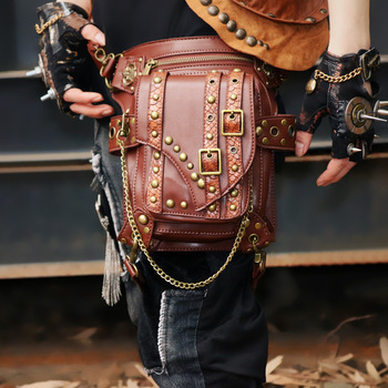 Brown PU Leather Rivet Steampunk Leg Holster Waist Bag Retro Punk Shoulder Bags Gothic Crossbody Bag Corsets Costume Accessories