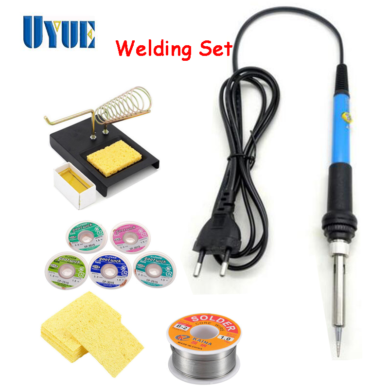 High Quaility DIY Welding Set Soldering Iron +Soldering Wire + Solder Wick +Support Station + Rosin+Cleaning Sponge 2017 wire with stand set welding soldering solder iron tip cleaner cleaning steel 1pcs