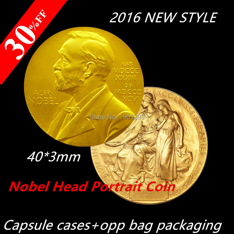 Sample order,1pcs/lot,The Nobel Prize in Physiology or Medicine Gold Plated Coin Nobel Head Portrait Coin
