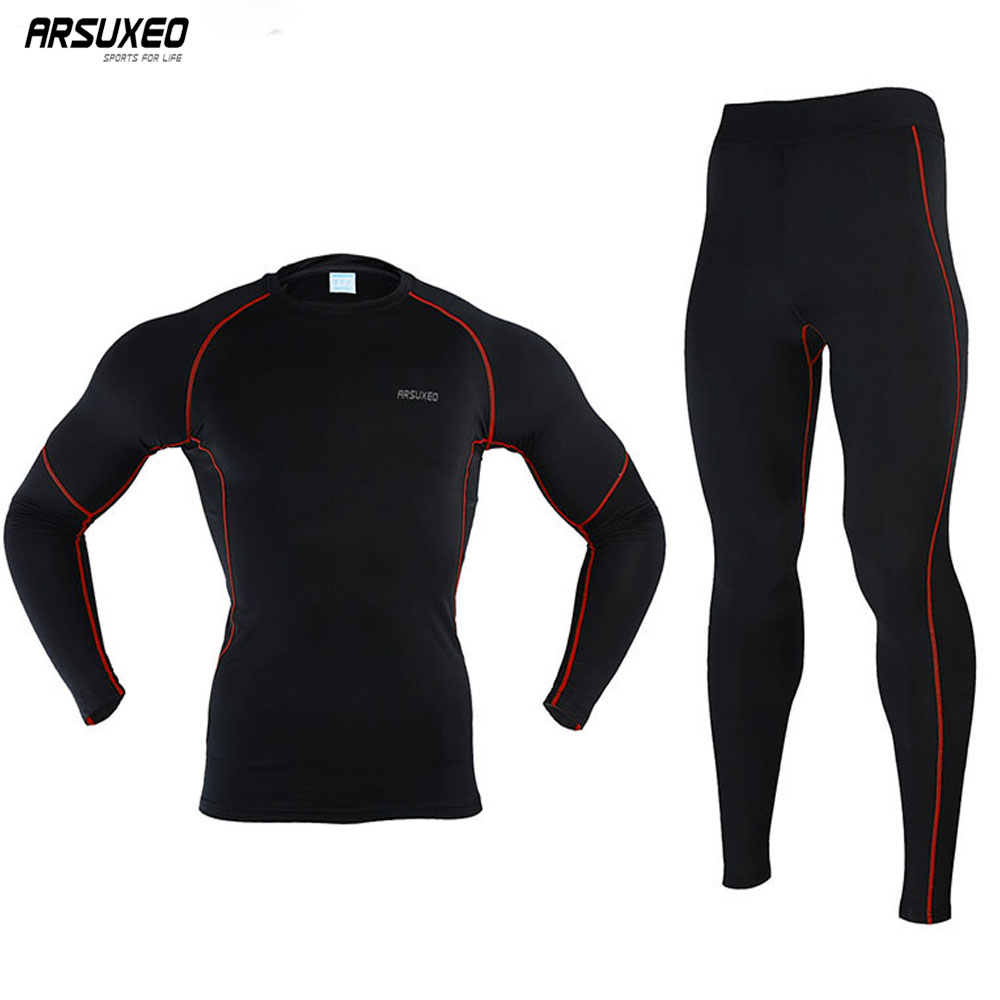 ARSUXEO Men's Winter Thermal Warm Up Fleece Compression Cycling Base Layers Shirts Tights Running Sets Jersey Sports Suits N56