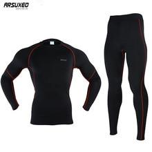 ARSUXEO hommes hiver thermique échauffement polaire Compression cyclisme couches de Base chemises collants ensembles de course Jersey sport costumes N56