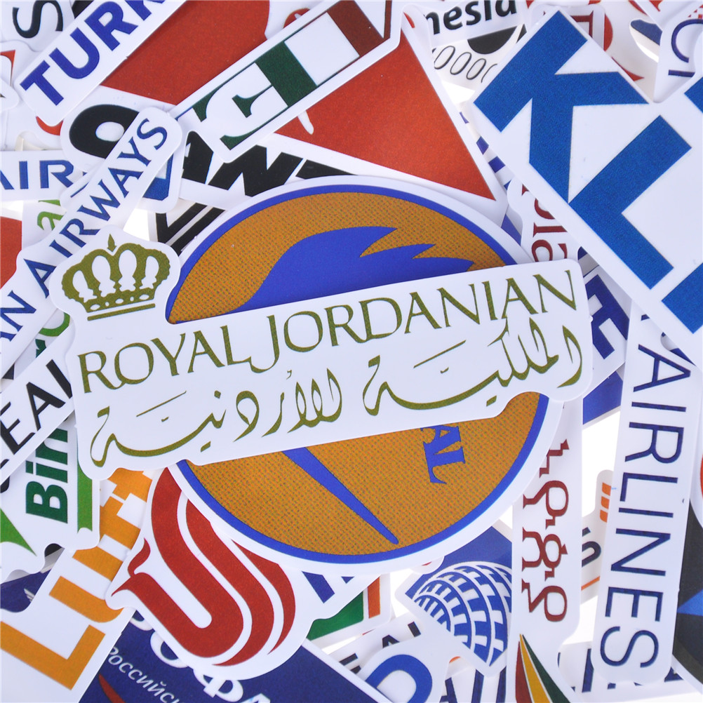 52x Airline Logo Stickers Aviation Travel Suitcase Laptop Decal Waterproof OA