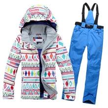 купить 2016New Women Winter Snowboard Jacket Hot sale lady snowboard ski suit jacket clothes sets pants windproof waterproof Breathable по цене 6236.96 рублей