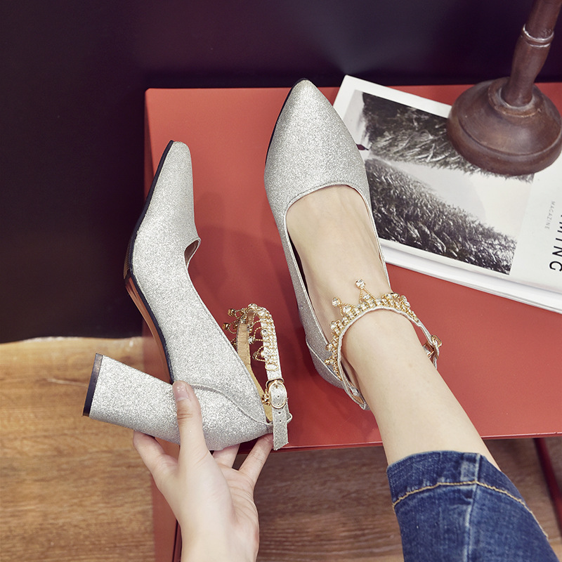 New Korean Version Of Bead-pointed Sequins For Shallow-mouthed Wedding Shoes, Thick-heeled Single-woman Shoes, High-heeled Shoes 20