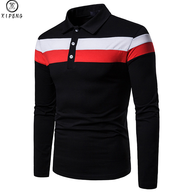 Mens Classic Striped Patchwork   Polo   Shirts 2019 Autumn New Breathable Cotton   Polo   Shirt Men Long Sleeve Casual   Polos   Hombre XXL