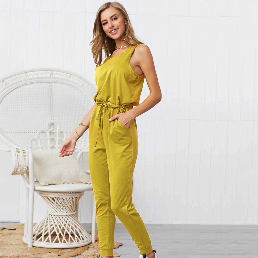 plus size rompers womens jumpsuit long trousers pants 2019 summer one piece outfit casual sleeveless romper with pockets VD5198
