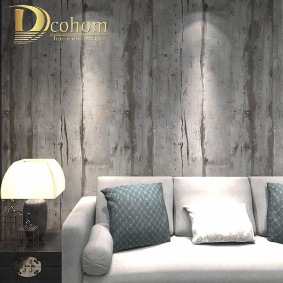 Simulation Rustic Wood Wallpaper Gray Wood Grain Textured Striped Vinyl Wall Paper For Bar & Restaurant