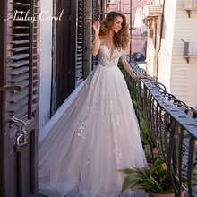 Ashley Carol A-Line Wedding Dress 2019 V-neck Long Sleeve
