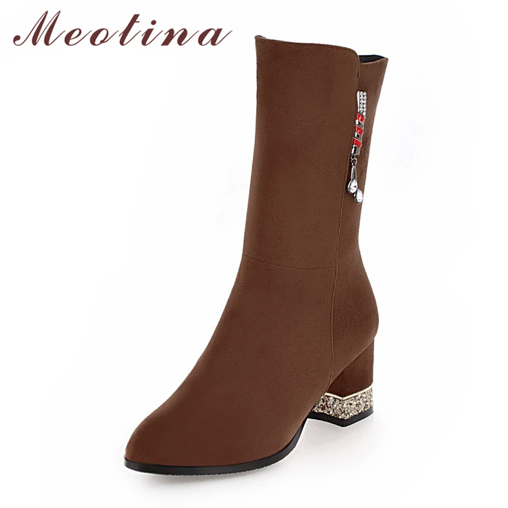 Meotina Mid Calf Boots Women Boots Winter Tassel Chunky High Heel Boots Glitter Med Heel Female Shoes Gray Black Big Size 33-43 meotina women boots winter chunky heel western boots ladies ankle boots large size 34 43 female autumn shoes 2018 white brown