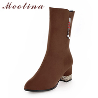 Meotina Mid Calf Boots Women Boots Winter Tassel Chunky High Heel Boots Glitter Med Heel Female Shoes Gray Black Big Size 33 43