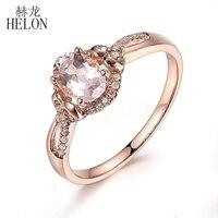 HELON Venda 14 K Rose Gold 7x5mm Oval Cut Morganite Pave Diamantes Naturais de Jóias Anel De Casamento Aniversário moda Anel Requintado