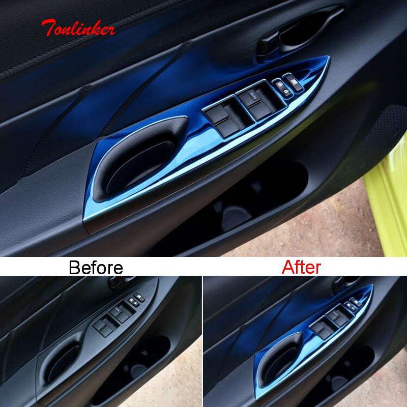 Tonlinker Car door Window lift button Cover Case for Toyota Vios/Yaris 2014 18 Car Styling 4 PCS Stainless Steel Cover stickers
