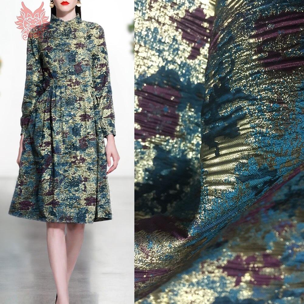 Tissu de brocart plissé jacquard métallisé floral de luxe de style américain pour tissu de soie tela tejido stoffen SP5440