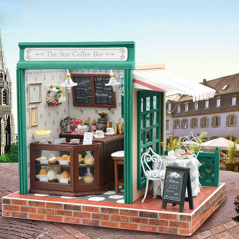 Cutebee DIY House Miniature with Furniture LED Music Dust Cover Model Building Blocks Toys for Children Casa De Boneca Z005