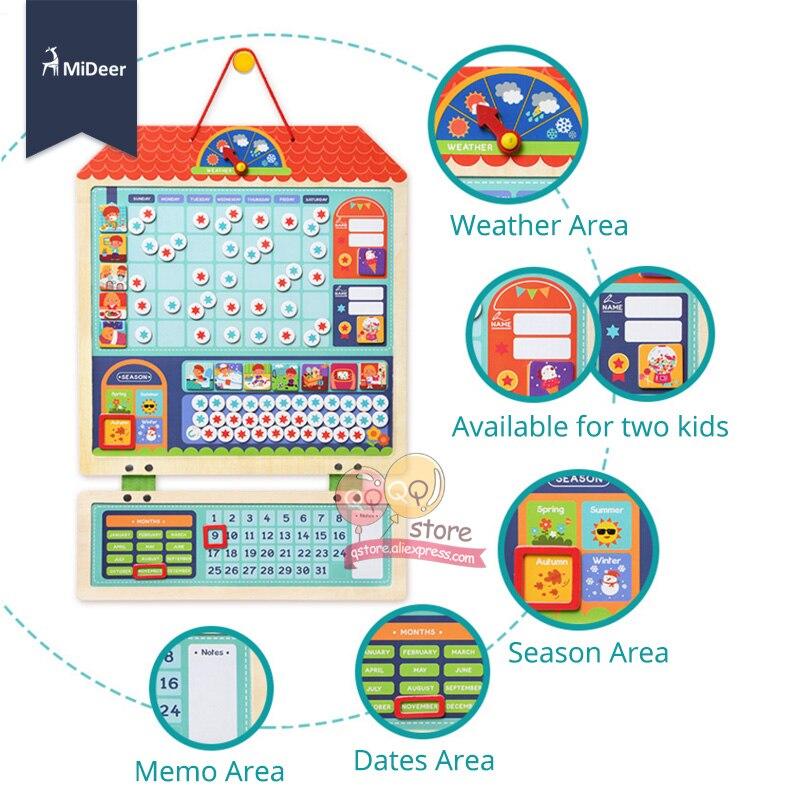 Micerf en bois magnétique récompense activité responsabilité graphique calendrier enfants calendrier jouets éducatifs pour enfants cible conseil - 3