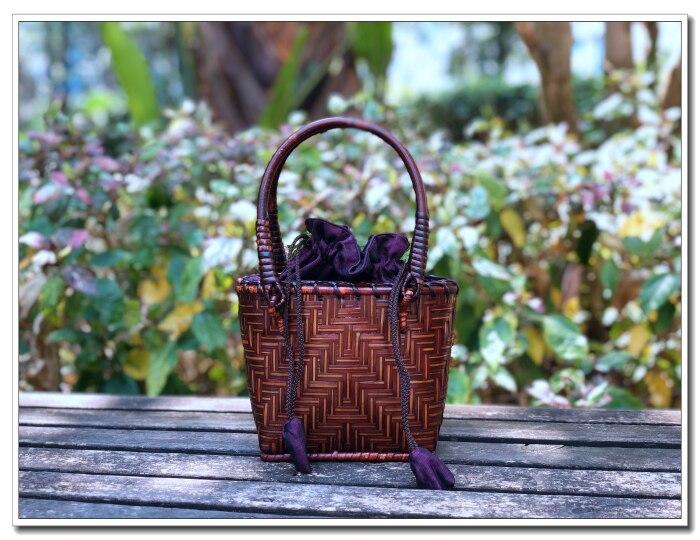 HANSOMFY | Плетеная соломенная сумка ручной работы, пляжная сумка в богемном стиле, летняя шикарная мини бамбуковая Сумочка, Экологически чиста... - 5