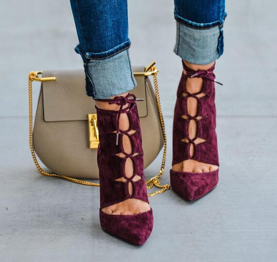 Spring Hot Burgundy Suede Leather Women Pointy Toe Lace Up Ankle Boots Cut Out Style Ladies High Heel Boots Ankle Bandage Boots burgundy sexy suede lace up back design vest