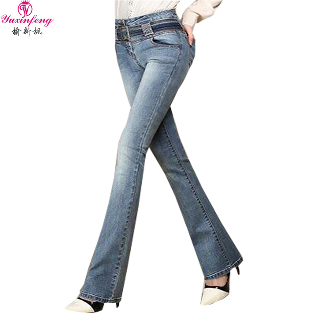 2016 Spring Flared Jeans for Women High Waist Trousers for Women Slim Big Size Denim Pant Tall Woman For Tlue vaqueros mujer