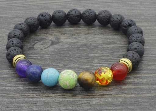 8mm  s2x3 elastic adjusted black volcanic lava Bracelet Stone bead essential oils diffuser agate turquoise yellow Tigerey