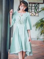 Free Shipping Fashion Hot Sale Spring New Arrival Flower Embroidery Flare Sleeve Woman Irregular Long Dress Pea Green