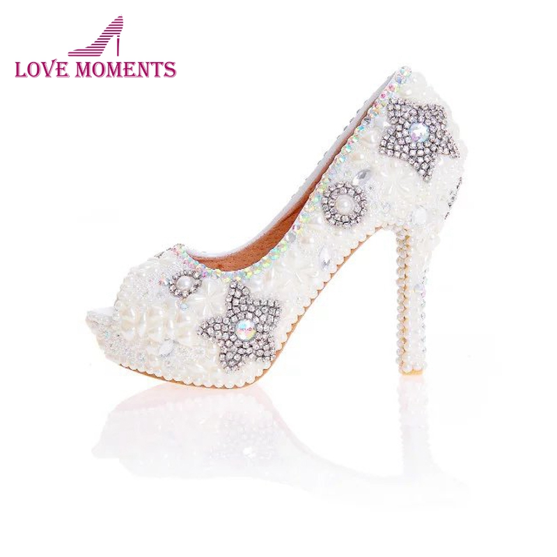 Ivory Pearl Wedding Shoes Peep Toe 2018 New Design