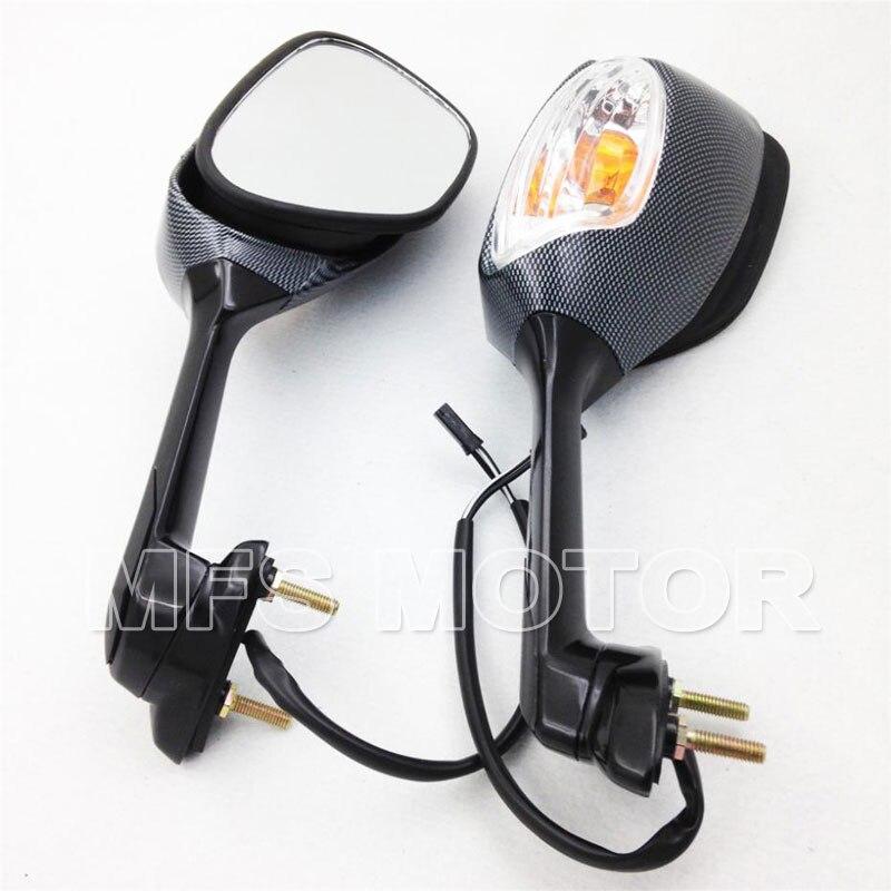 Livraison gratuite pour moto 2006-2012 Suzuki GSX-R 600 750 rétroviseur en carbone avec clignotants