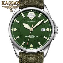 цена KASSAW Watch Men's Military Watch Leather Luminous Automatic Mechanical Watch Sports Hollow Waterproof Men's Watch онлайн в 2017 году