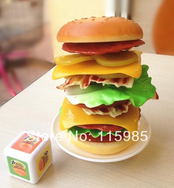 1set stacking burger simulation hanburger tower balance game family baby kids pretend play kitchen toys food