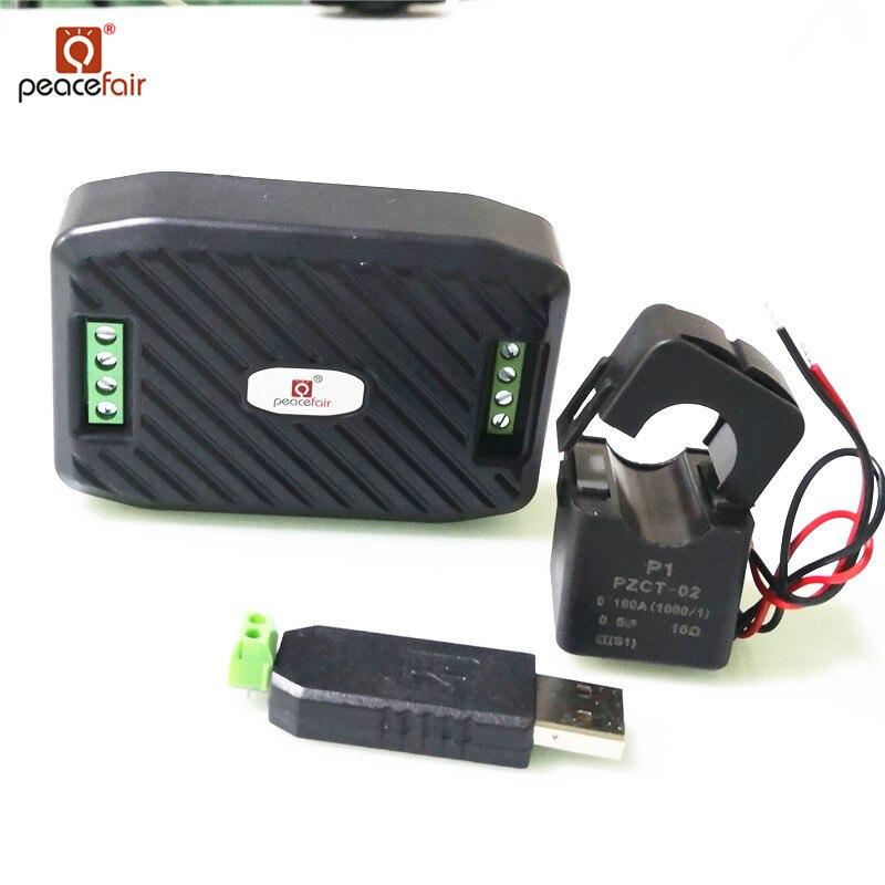Neue AC Einphasig Watt Energie Meter RS485 Modbus 220 v 100A Spannung Strom Frequenz faktor Kwh Meter Mit split CT & USB