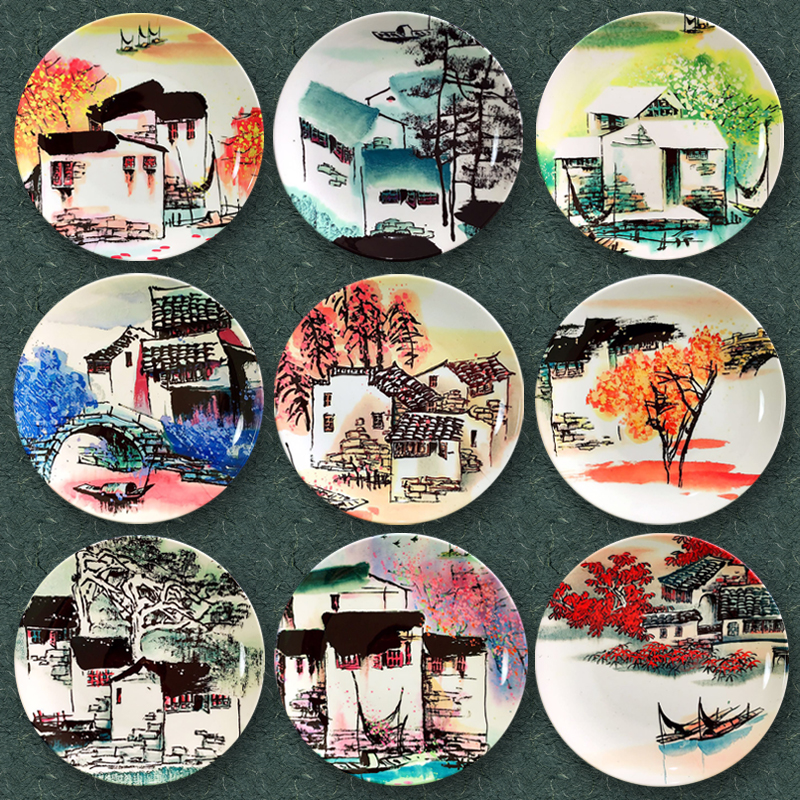10inch Chinese Style Hand Painted Ink Landscape Pattern Ceramic Plate Decoration Office Hanging Wall Dish Crafts Art Ornaments