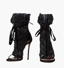 Elegant Black Lace Mesh Ankle Boots For Women Peep Toe Lace-up Gladiator Short Boots String Bead Cut-out Super High Heeled Pumps