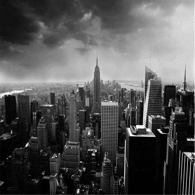 Купить с кэшбэком beibehang 3d wall paper Simple black and white architectural style city building in Manhattan, New York wall mural wallpaper