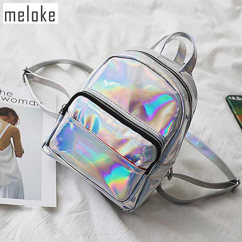 29ecdae7a31c Meloke Новинка 2018 года для женщин Голограмма Рюкзак лазерные рюкзаки  женский серебряный из искусственной кожи сумки