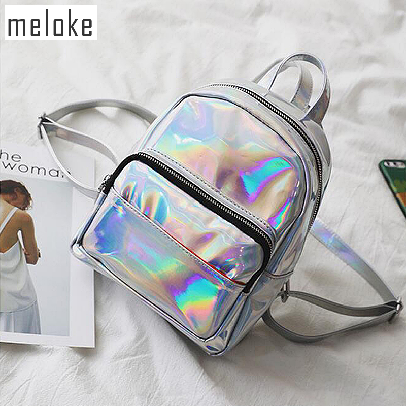 Meloke 2019 New women hologram backpack laser daypacks female silver pu leather holographic bags big  girl school bag