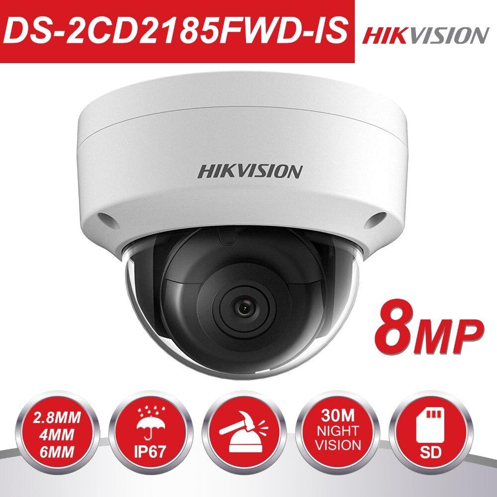 Origianl Hikvision H.265 CCTV Caméra DS-2CD2185FWD-IS 8 Megapixesl Dôme IP Caméra Fente Intégrée Pour Carte SD & Audio