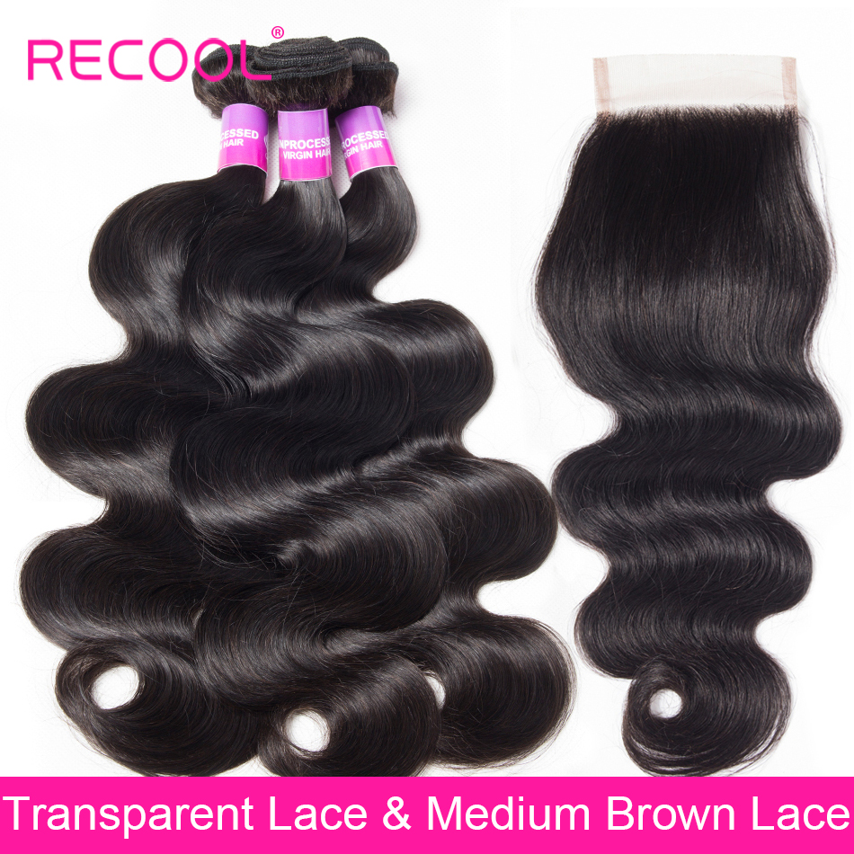 Recool Body Wave Bundles With Closure Brazilian Hair Weave 3 Bundles With Closure Human Hair With