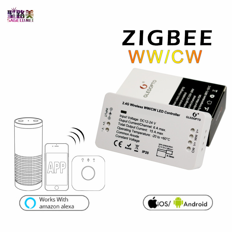 DC12V - 24V ZIGBEE Bridge Led Controller Zigbee Light Link Warm White / White LED Dimmer ZLL Phone App Control For 5050 Led Tape