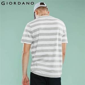 Image 5 - ジョルダーノ男性 Tシャツ男性ストライプ刺繍パターンソフト品質綿 O ネックブランド夏の Tシャツ半袖 Tシャツ