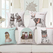 High Quality Natural Thicken Cotton Linen Cute Animal Flower Sweater Animal Printed Sofa Cushion Cover Decorative Throw Pillow(China)
