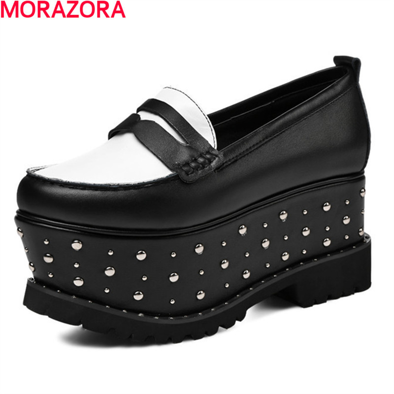 MORAZORA New arrive hot sale party shoes women pumps comfortable top quality fashion rivets shoes round toe size 34-41 memunia new arrive hot sale genuine