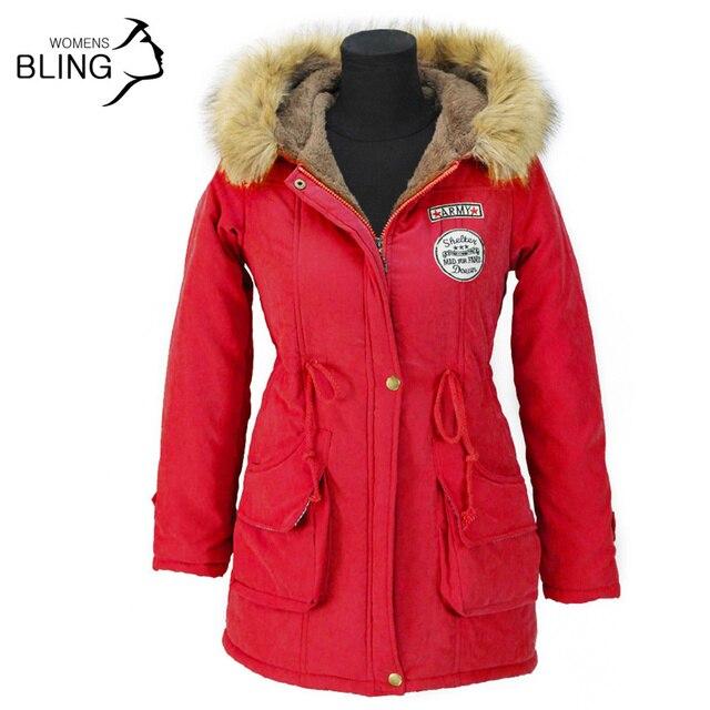 Теплая Зима Пальто Куртки Женщин Осень Длинные Пальто Из Искусственного Меха воротник Моды с Капюшоном Снег Парки Вниз 17 Цвета Плюс размер