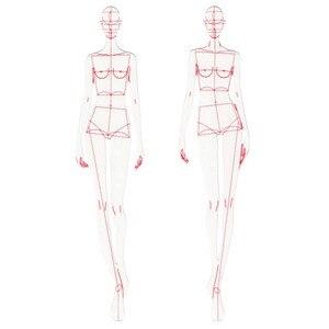 Image 1 - Thiết Kế thời trang Người Cai Trị Vải Thiết Kế Đường Vẽ Trang Phục May Nguyên Mẫu Người Cai Trị Con Người Năng Động Tiêu Bản Cho Học Sinh Trường Vẽ