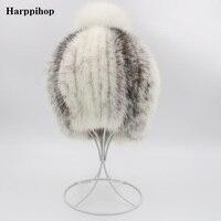 2018 Women Winter Mink Fur Hat Real Knitted Mink big Fox Fur ball Caps Female Russian Warm Beanies Hat Women's Fur Hat H914