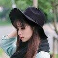 Приливная волна шерстяные шляпы Женский Британский ретро большой шляпе Джаз шляпа Зима сплошной цвет светло-доска крышка