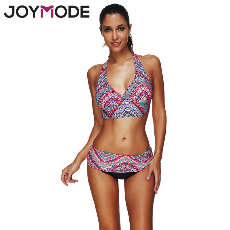 все цены на JOYMODE 2018 Bikini Women Geometric Bikini Swimsuit Halter Swimwear Summer Geometric Print Floral Beachwear For Wommen M-3XL -F